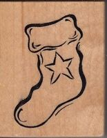 "stocking psx Wood Mounted Rubber Stamp  1 1/2 x 2""  Free Shipping"