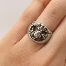 Vtg USA Signed Sterling Silver Marine Corp Insignia Handmade Ring Size 5