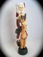 Santa Claus On Reindeer Christmas Taper Candle Holder