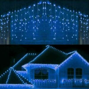 200 Blue + White LED Icicle Lights Snowing Effects Xmas Outdoor Christmas Roof