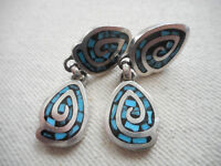 Vintage Sterling Mexico Taxco Inlaid Mosaic Turquoise Drop Earrings  RE399T