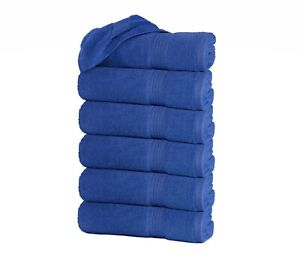 "Set of 6 Large Bath Towel Sheets 100% Cotton 27""x55"" 500 GSM Highly Absorbent"