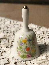 Vintage Mid Century Porcelain Hand Painted White w/Wild Flowers Collectible Bell