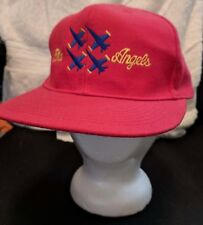 Military Navy Blue Angels Fighter Plane Red Trucker Cap Hat 100% Wool