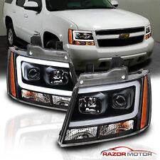 2007-2014 Chevy Suburban/Tahoe/Avalanche Black LED Bar Projector Headlights Pair