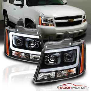 For 07-14 Chevy Suburban/Tahoe/Avalanche Black LED Bar Projector Headlights Pair