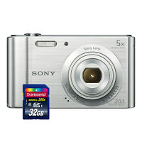 Sony Cyber-shot DSC-W800 20.1MP Digital Camera 5x Optical Zoom Silver+ 32GB Card