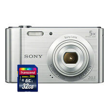 Sony Cyber-shot DSC-W800 20.1MP Digital Camera 5x Optical Zoom Silver+ 32GB Card