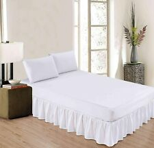 "Gathered Bed Skirt With Platform Dust Ruffle Microfiber Drop 6-30"" White"