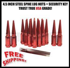 32 RED SPIKE STEEL LUG NUTS 14X1.5 + KEY | FITS MOST FORD F-250 F-350 SUPERDUTY