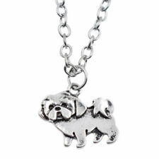 Cute Silver Dog Shih Tzu Pendant Necklace Long Chain Charm Fashion Jewelry Gift