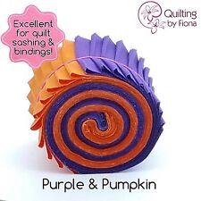 "10 Purple/10 Pumpkin Jelly Roll PreCut Fabric Strips, 2.5"" x WOF, Die Cut"