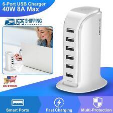 Multi 6 Port Usb Charging Station Hub Desktop Wall Cell Phone Charger Organizer