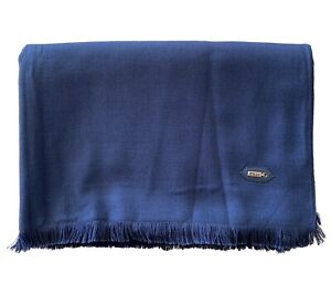 $1.2k ZILLI NEW Scarf 100 % Cashmere Blue/Navy 28''x80''
