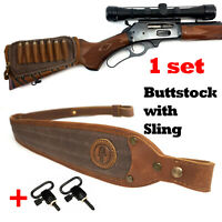 1 Sets Leather Rifle Buttstock Shell Holder with Gun Sling For .45-70 308 30-06