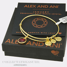 Authentic Alex and Ani January Birthstone Yellow Gold Garnet Expandable Bangle