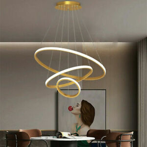 Nordic Staircase Restaurant 3 Ring Shaped Chandelier Bedroom Study Pendant Lamp