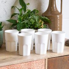 Set of 6 White Reusable 350ml Plastic Drinking Glasses Hi-ball Tumblers Bar Cups