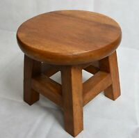 Solid Wood Stool/Childs Stool/Rustic/Hand Carved/Waxed 25hx27x27cm