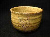 VINTAGE JAPANESE SIGNED TEA CEREMONY CERAMIC CHAWAN TEA BOWL ETCHED CRANE ~
