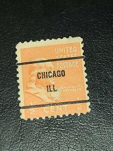 Sc#803 US Stamp 1938 1/2c Franklin Used Prexie Precancel Chicago ILL -#2215
