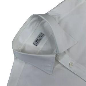 Hommes 16 Charvet Paris Solide Coton Blanc Col Italien Robe Chemise Made France