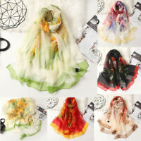 Women Printted Floral Long Soft Wrap Stole Scarf Simulation Silk Shawl Scarves