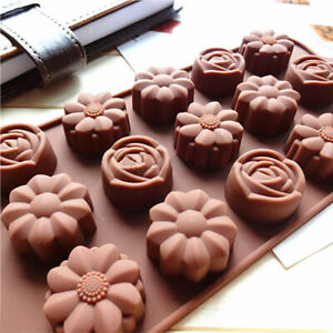 15 Cavity Silicone Flower Rose Chocolate Cake Soap Mold Ice Baking Tray Mould