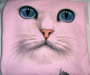 """Cat Face - Blue Eyes"" - Gildan (Pink) Fleece Long sleeve Crew Neck Sweatshirt"