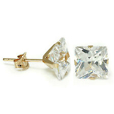 1.50 CARAT 14K YELLOW GOLD WHITE SAPPHIRE PRINCESS CUT STUD EARRINGS