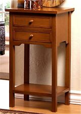 NATURAL WOODEN  END SIDE OR NIGHT STAND TABLE W/ 2 DRAWERS & LOWER SHELF ** NIB