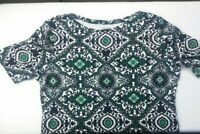 Charter Club womens top large green luxury pima cotton blue white casual travel
