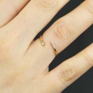 Minimalist Twist Open Diamond Ring, 14K Solid Gold 1.3mm Thin Open Ring