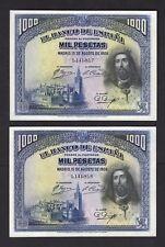 F.C PAREJA CORRELATIVA 1000 PESETAS 1928 , EBC .