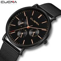 Men's Luxury Watch Slim Mesh Steel Watch Waterproof Quartz ANlog Wrist Watch