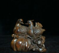 Fengshui noble Boxwood Collect Mandarin duck happiness Statue festival figurine