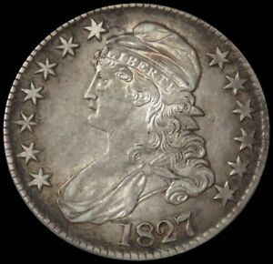 1827 SILVER SQUARE BASE 2 CAPPED BUST HALF DOLLAR ABOUT UNC