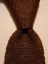 EMANUEL UNGARO Men's SQUARE END Knit Necktie Designer SOLID Brown EUC Very Rare
