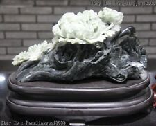 Chinese Art Sculpture Dushan Jade Wealth And Rank Peony Flower Fengshui Statue