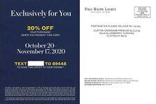 Ralph Lauren Polo Factor Store 20% Off Expires 11/17/2020