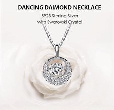 S925 Sterling Silver 1/4ct Circle Dancing Diamond Necklace w Swarovski Element