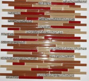 """ DYNASTY "" RED GLASS STRIPS TAN GOLD COPPER VINE MOSAIC TILE BACKSPLASH TILES"
