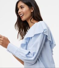 NWT Ann Taylor LOFT Striped Ruffle One Shoulder Shirt  Top   $59.50 White & Blue