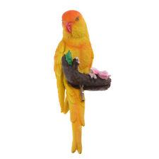 Yellow Resin Animal Parrot Statue Budgerigar Bird Ornament Lawn Sculpture