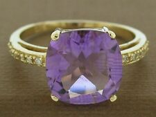 s R193 Solid 9K Gold Natural Amethyst & Diamond Ring 10mm Cushion cut size L 1/2