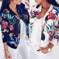 Cy_ Flower Leaves Print Women Sports Long Sleeve Baseball Jacket Zip Coat Splend