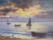 Huile sur toile, paysage maritime, signature à déchiffrer, circa 1930