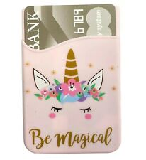 Silicone Adhesive Cell Phone Credit Card Money Holder Be Magical Pink Unicorn