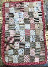 Antique Primitive 5 by 8 Tiny Squares Doll Miniature Quilt