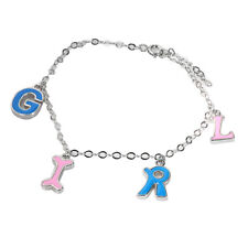 De Buman Sterling Silver English Letter Enamel Charm Bracelet, 5.8''
